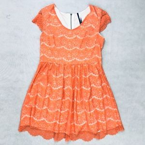 Kensie Orange Lace Overlay Short Sleeve Dress XL